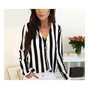 Tops - STRIPED LONG SLEEVE BLOUSE